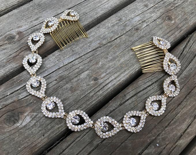 Gold Bridal Headband, Gold Wedding Jewelry, Gold Rhinestone Hair Piece, Wedding Headband, Ribbon, Wedding Headpiece, Gold, Bridal Accessory
