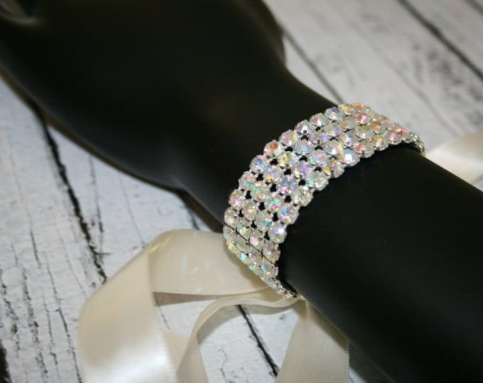 Rhinestone Bridal Bracelet with White or Ivory Satin, Aurora Borealis Crystals