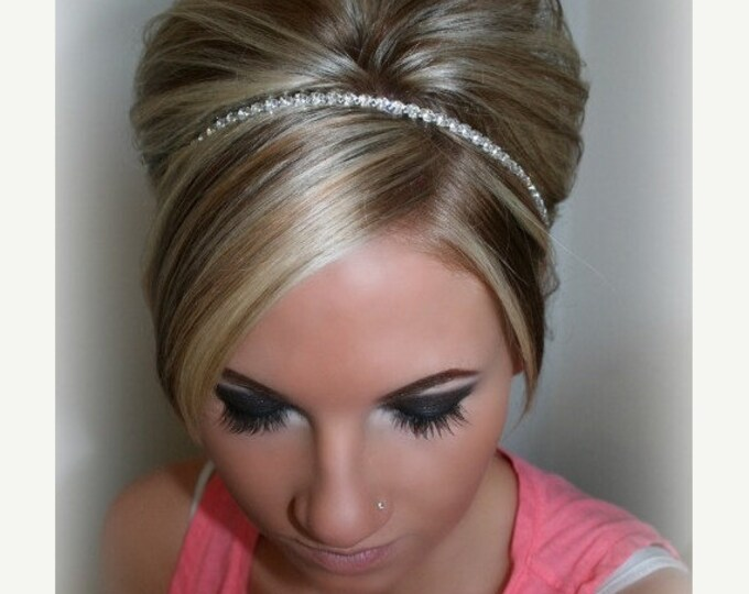 Rhinestone Bridesmaid Headpieces - Single Rhinestone Row with Silver Setting and Satin Ribbon Tie