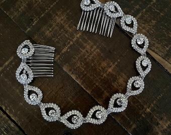 Bridal Headband, Wedding Headpiece, Bridal Hair Piece, Rhinestone Headband, Bridal Headpiece, Elsie, Hair Accessories