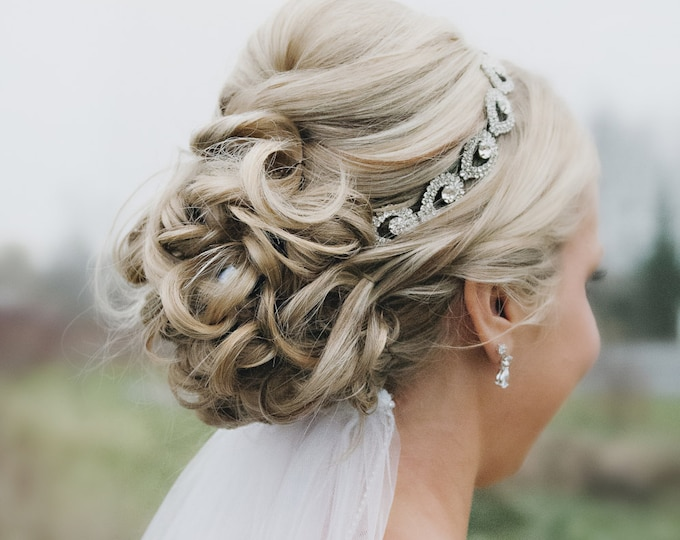 Holiday Headband, Rhinestone Bridal Headpiece, Bridal Hair Piece, Teardrop Rhinestone Headband, Bridal Headband, Wedding Headband, Holiday