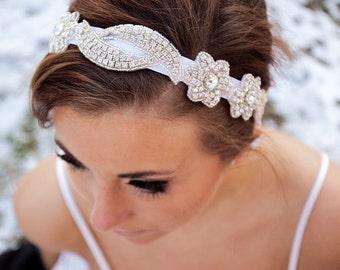 Bridal Hair Piece, Ribbon Hair Piece, Rhinestone Headband, Wedding Hair Accessory, Bridal Accessories, Ribbon, TASHA