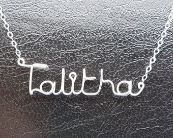 Name Pendant Talitha Sterling Silver Custom Wire Word  Necklace Designer in UK