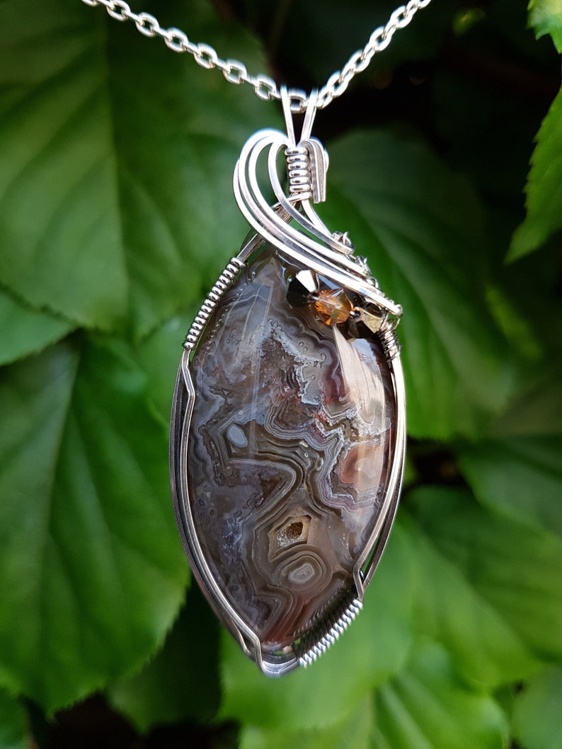 Crazy Lace Agate Brown Cream Druzy Crystals and Sterling Silver Pendant Unique Wire Wrapped by J A Rowe