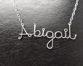 Name Pendant Abigail Sterling Silver Custom Wire Word  Necklace Designer in UK