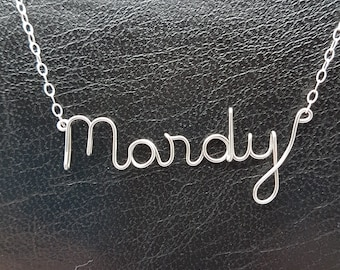 Name Pendant Mandy Sterling Silver Custom Wire Word  Necklace Designer in UK