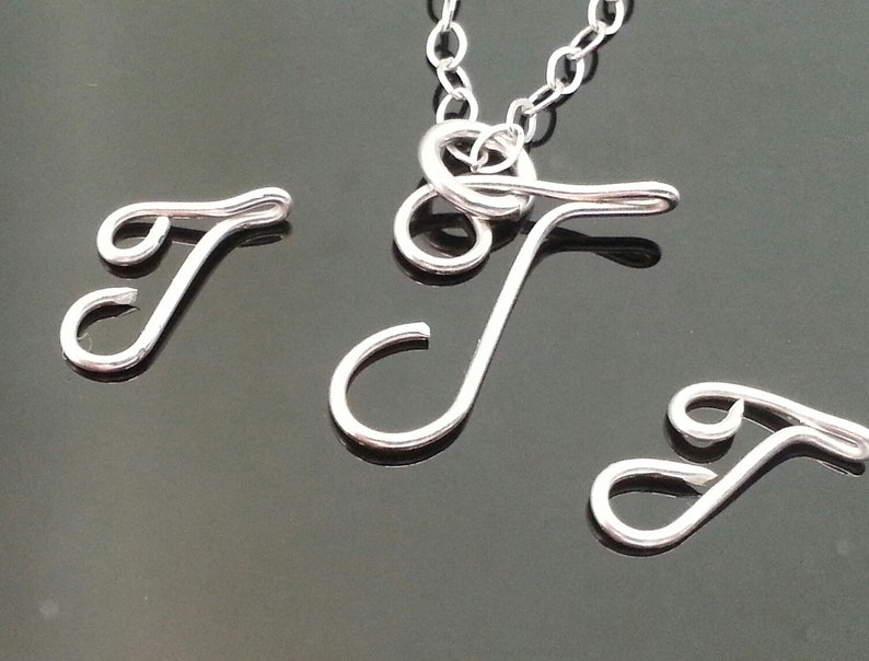 17f19e8030ce6 Sterling Silver Initial Necklace J Initial Necklace Sterling Silver Custom  Necklace Wire Initial Word