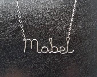 Name Pendant Mabel Sterling Silver Custom Wire Word  Necklace Designer in UK