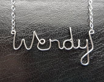 "Name Pendant  ""Wendy""  Sterling Silver - Custom Wire Word - Necklace Designer in UK"