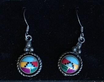 Lovely vintage Sterling silver southwestern motif medallion earrings - zuni pueblo kachina design - turquoise, jade multi gemstone inlay