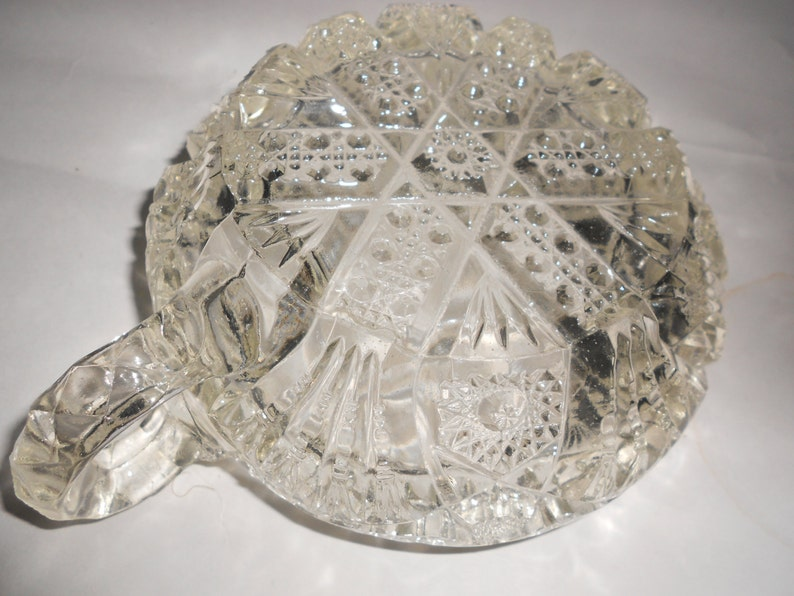 Vintage Imperial NuCut Glass Nappy Candy Dish Diamond Arch Fan Pattern