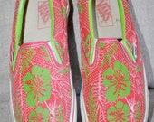 e4219e20e4 Vintage 80 s Vans Slip Ons Tropical Hawaiian Print Size 7 Mens 9 Womens  Canvas