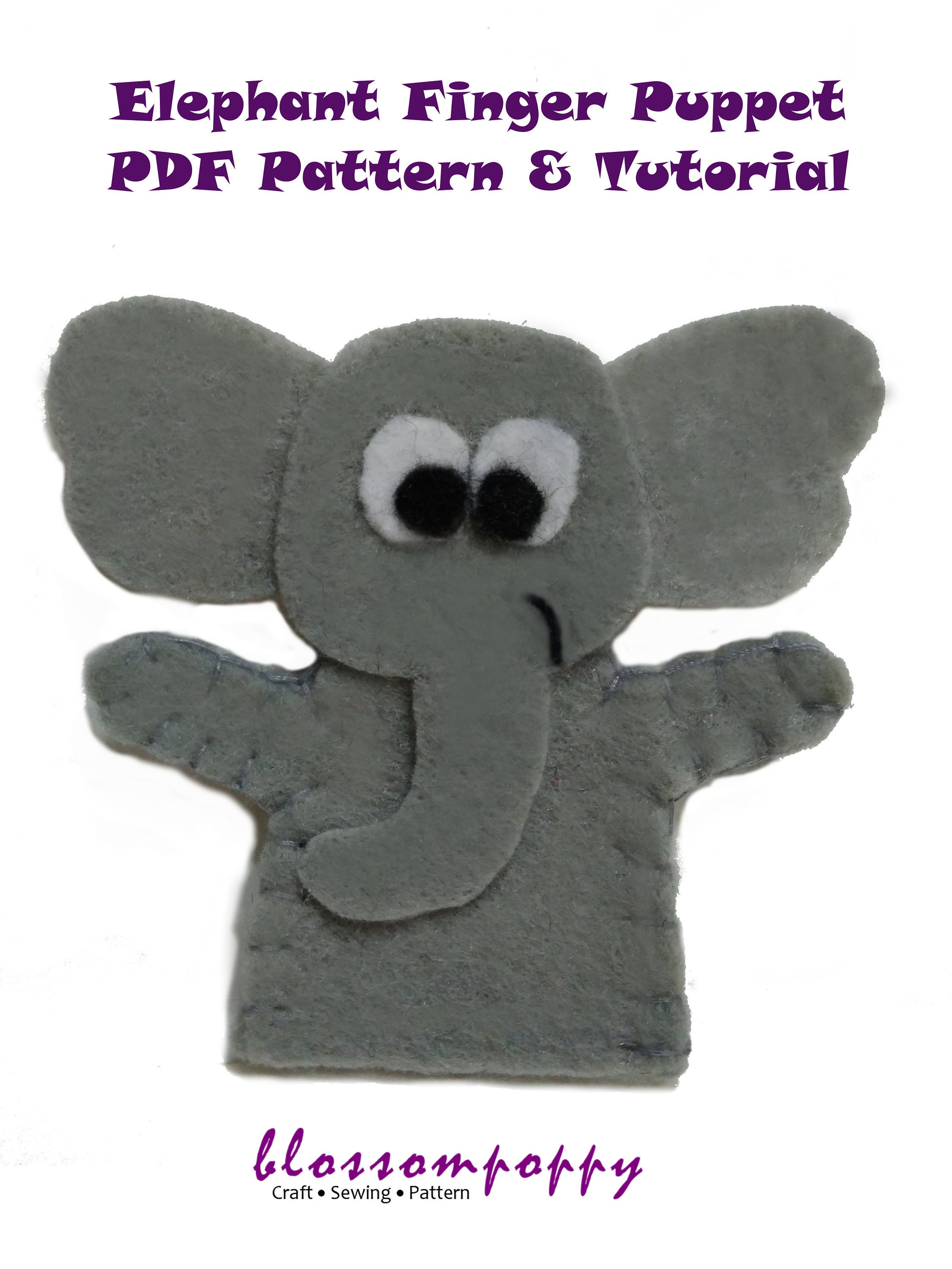 elephant felt finger puppet pdf pattern tutorial/ zoo animal | etsy