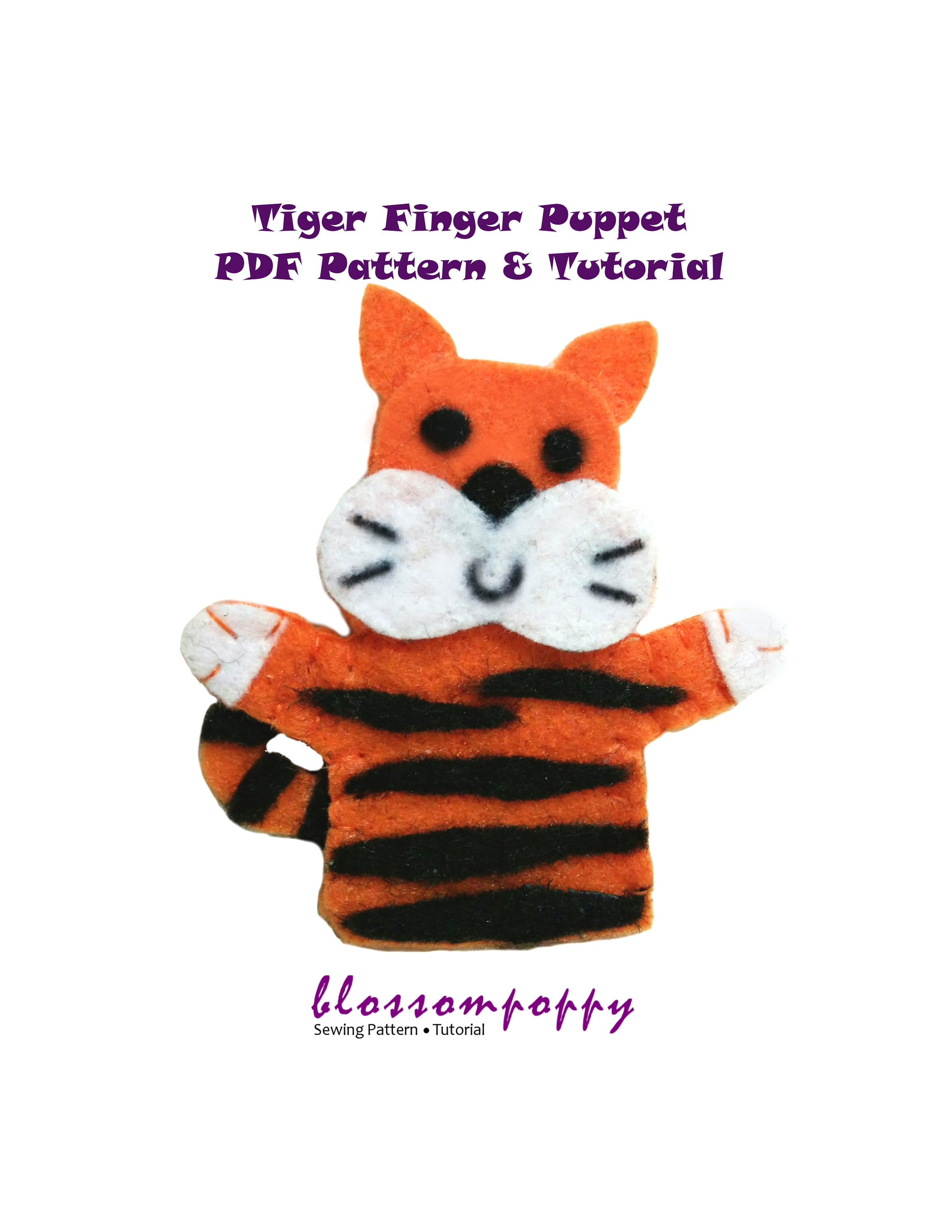 tiger felt finger puppet pdf pattern tutorial/ zoo animal | etsy