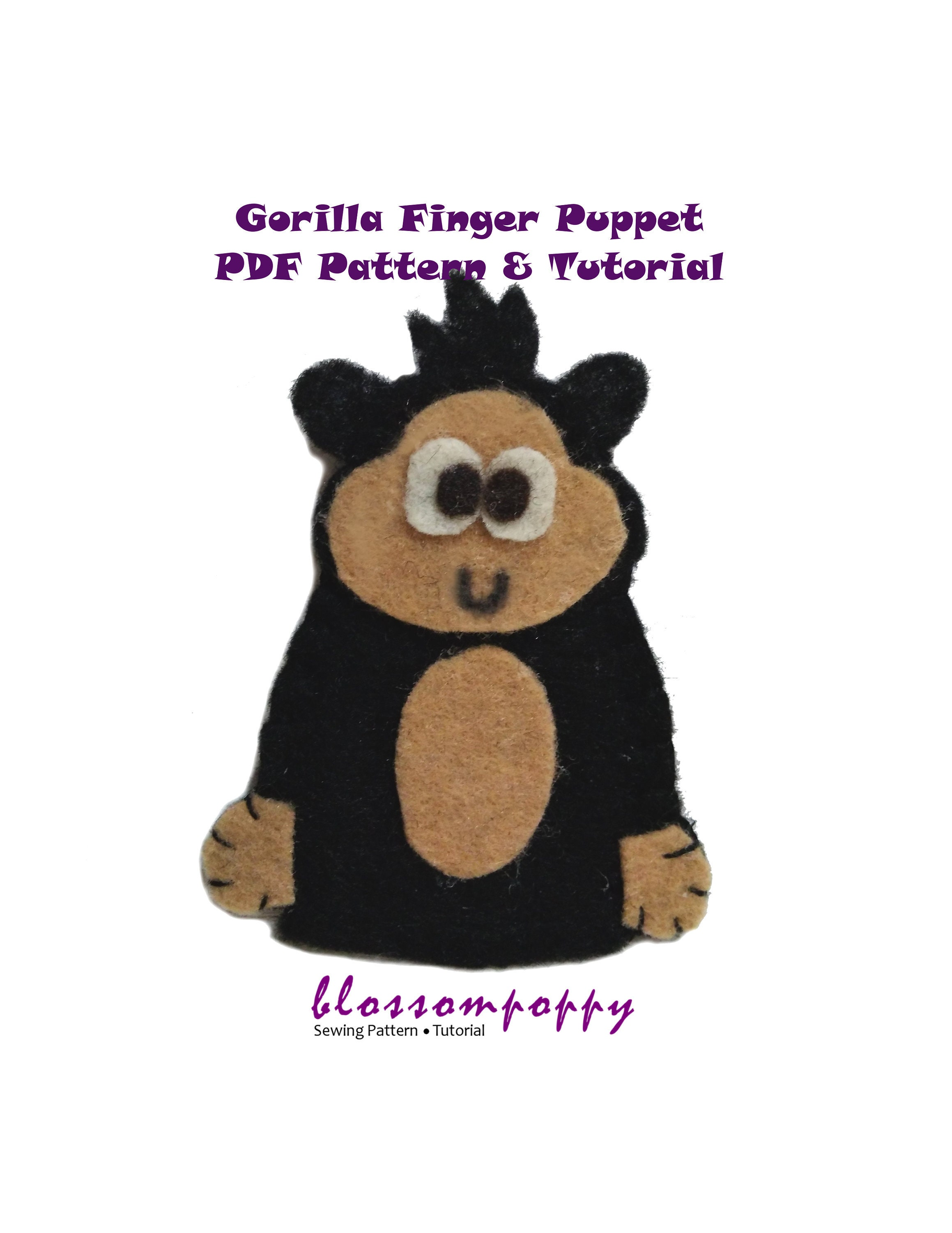gorilla felt finger puppet pdf pattern tutorial/ zoo animal | etsy