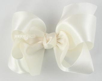 9193dbd94518f Satin Hair Bow - ivory hair bow - cream hair bow - flower girl hair bow - flower  girl hair accessories - 4 inch large hair bow - toddler