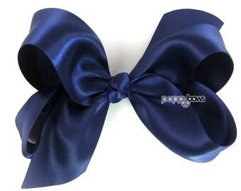 a207eee434b4a Girls Hair Bow - 4 Inch Satin Hair Bow - Navy Blue hair bow - toddler hair  bow - baby girls hairbow - big hair bow 4