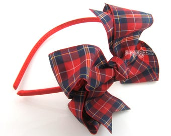 "Red Plaid Back To School Bow, Plaid Hair Bow 4"", Red and Navy Blue Tartan Classic Hairbow on Headband, School Uniform Girls Headband 4 inch"