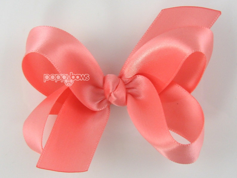 9631706aadd5 Coral Satin Hair Bow Baby Toddler Girl 3 Inch Boutique