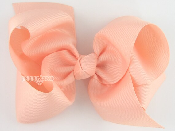 Extra Large Hair Bow 6 Peach Hair Bow Girls Hair Bows Etsy