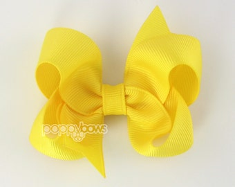 Yellow 3 Inch Boutique Hair Bow - Baby Toddler Girl - Solid Color with Non Slip Grip Yellow Hairbows