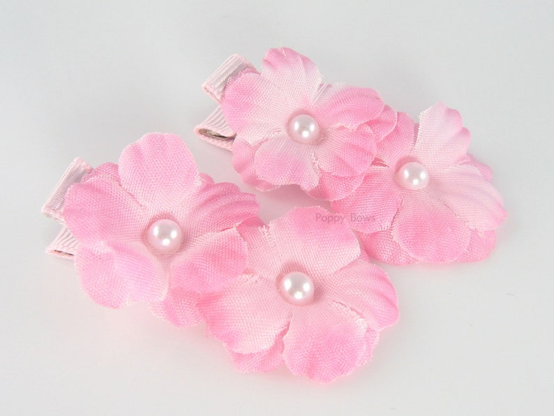 "Pair Small 2"" Girls White Hair Bow Clips Christening Flower Girls Pearl Bead"