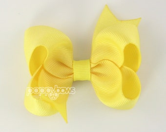 Lemon Yellow 3 Inch Boutique Hair Bow - Baby Toddler Girl - Solid Color with Non Slip Grip Yellow Hairbows