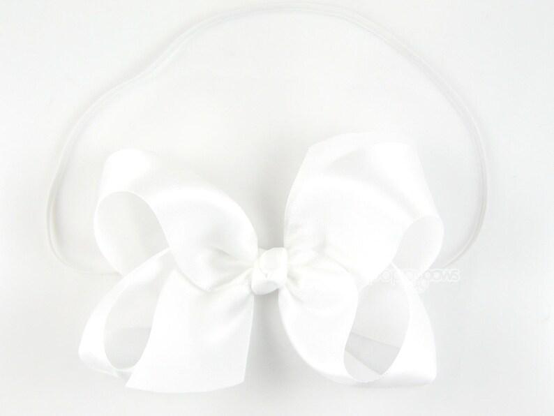 bow headband white baby headband big boutique bow 4 4 inch bow wedding baby Easter baby headband girls headband satin headband