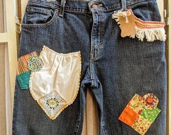 Repurposed Fun Whimsical Boho Chic Jean Capris Sz 10 vintage embellished