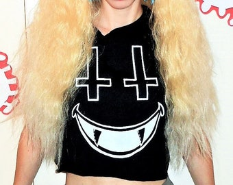 Black SATANIC SMILE Grunge Crop Top in Sizes XS, Small, Medium, Large, and Extra Large