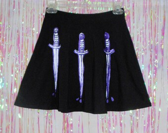 Black Three Of Swords Print Skater Skirt // Witchy / Tarot  // Made to Order in Sizes xs, small, medium, large