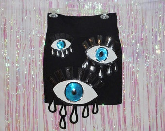 74030fc8b0a35 Black EYES ON YOU Sequin Evil Eye Applique Skirt --Made to Order-- Size  Extra Small