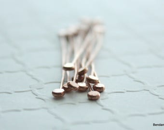 Copper Headpins, Hammered Headpins, 10 Double End Head Pins