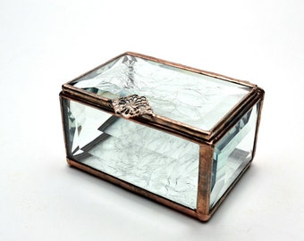 Beveled Glass Box Chip Glass Hinged Lid