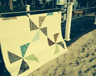 Scrappy pinwheel quilt