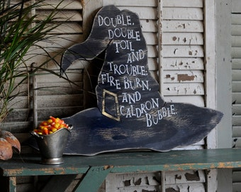 Witch Hat Halloween Party Macbeth Witch Decor Halloween Decor Double, double, toil and trouble; fire burn, and caldron bubble