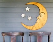 Moon Sign Nursery Decor Crescent Moon Lunar Man in the Moon Large Scale Vintage Style Moon Sign Halloween Decor