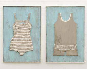 Amazing Swimsuit Set 2Pc Wood Nautical Wall Art Wooden Framed Retro Swimsuits Beach  House Wall Art Bathing Suit Wall Art Lake House Decor Beach Art