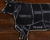 Rustic Cow Butcher Shop Sign Beef Cut Meat Chart Restaurant Decor Cow Kitchen Decor Butcher Diagram Meat Cuts Cow on Rustic Background