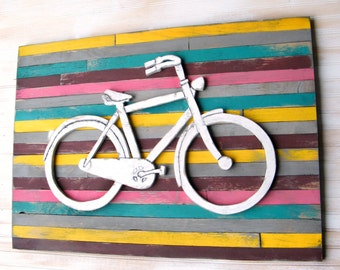 Bicycle Art Pallet Large Wall Decor Colorful Wooden Bike Sign Customizable Wall Art Cycling