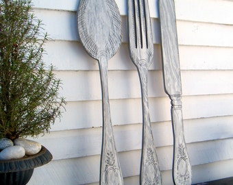 Knife Fork and Spoon Wall Decor Wooden Kitchen Decor Large Spoon and Fork Wooden Silverware Set Kitchen Signs Restaurant Decor Diner Decor