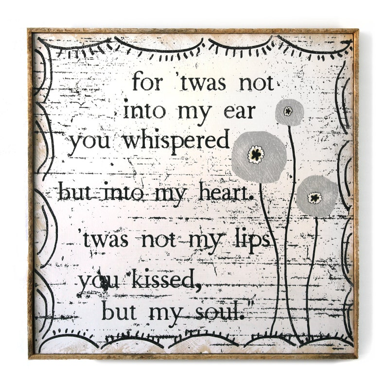 Romantic Quote Jane Eyre Quote Bedroom Decor Wedding Gift Black And White Art Flower Print Rustic Home Decor Poppy Flower Gift For Her