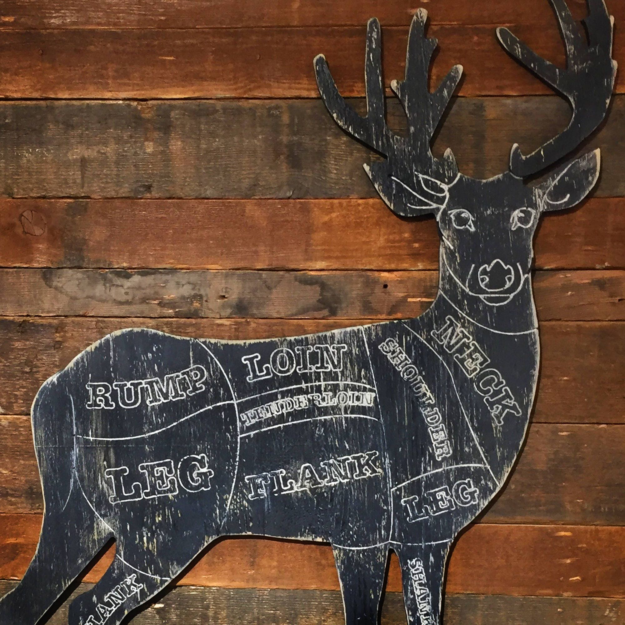 rustic deer butcher shop sign venison meat chart butcher etsy rh etsy com