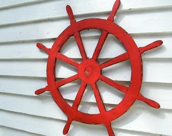 Large Ships Wheel Wooden Nautical Decor Helm Coastal Beach Decor Outdoor Patio Wall Decor Lake House Decor Kids Room Decor