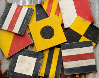 """Individual Nautical Flags Sailing Flags Wooden Wall Art Sailing Decor Sizes available from 12""""-24"""" Nautical Decor"""
