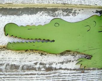 Alligator Nursery Alligator Decor Large Scale Wooden Alligator Zoo Jungle Wall Art Florida Gator Preppy Wall Decor