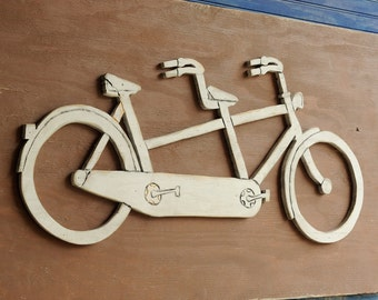 Tandem Bicycle Wall Decor Wooden Large Bicycle Sign Bike Decor Bicycle Built for Two Bicycle Wall Art