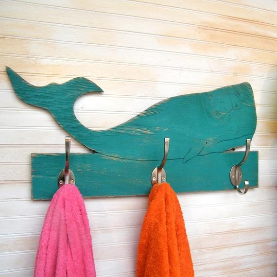 Whale Towel Hook Bathroom Wooden Beach Towel Hooks Whale | Etsy