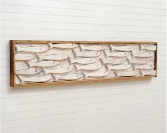 Fish Decor Framed Fish Art Minnow School Wooden Fish Beach Decor Wall Art Nautical Decor