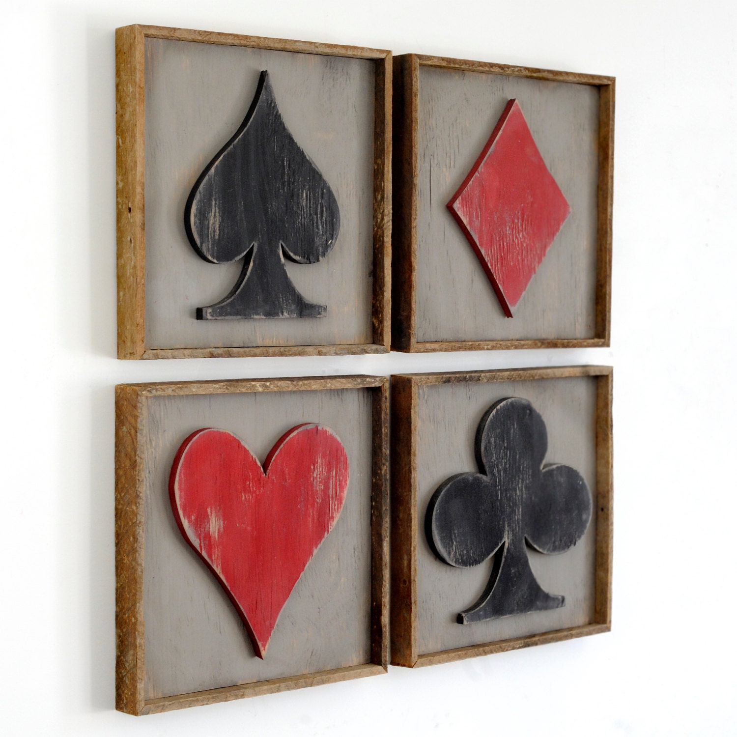 Framed Playing Cards Suits 4 Pc Set Game Room Decor Poker Room | Etsy